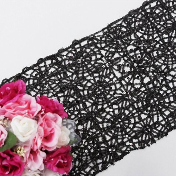 Sequin Studded Lace Table Runners: Black, Gold, Silver